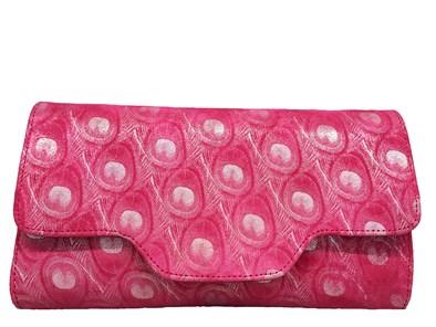 HB Pink Feather Print Suede Handbag