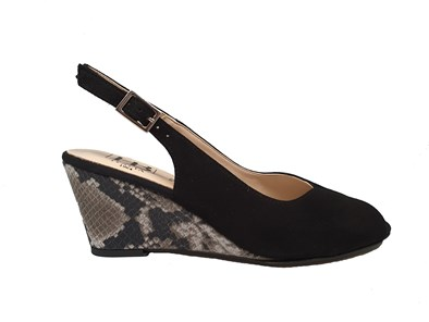 Hb Black Snake Pattern Wedge Peep Toe Sandal