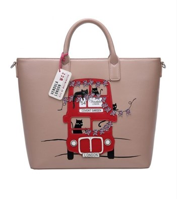 Vendula London Cats London Bus Carry All Tote in Light Beige
