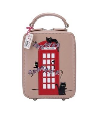 Vendula London Cats London Bus Crossbody Bag Beige