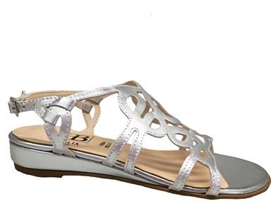 HB Silver Strappy Flat Sandal