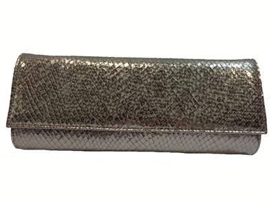 Renata Steel Grey Moc-Croc Handbag