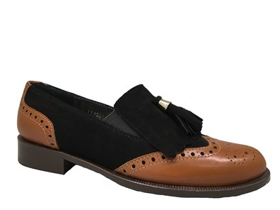 Hb Tan Black Apron Loafer