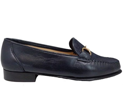 HB Navy Moccasin With Metal Buckle