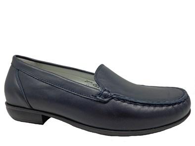 Waldlaufer Navy Blue Leather Moccasin