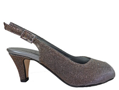 HB Gold & Silver Sparkle Peeptoe Evening Shoe