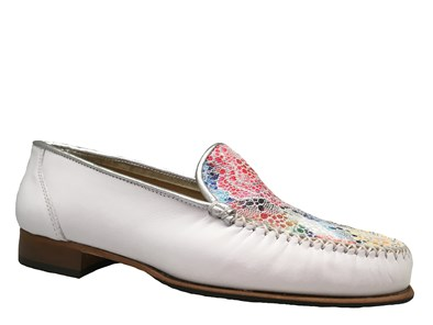 HB White & Floral Print Moccasin