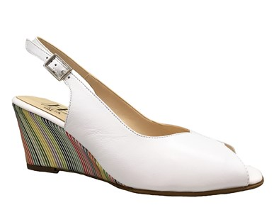 Hb White & Multi Coloured Wedge Sandal