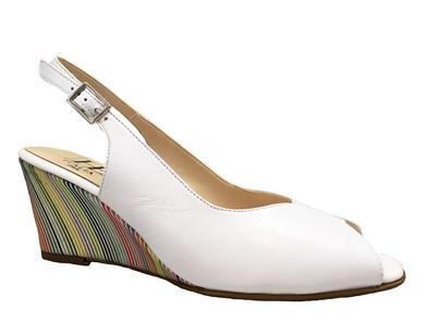 Hb White & Multi Coloured Wedge Sandal