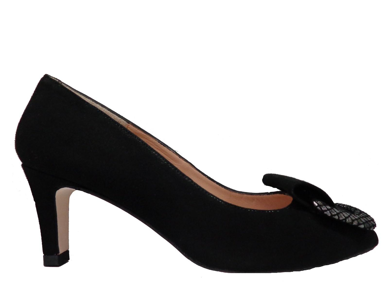 HB Justina Black Suede Mid Heel Court Shoe
