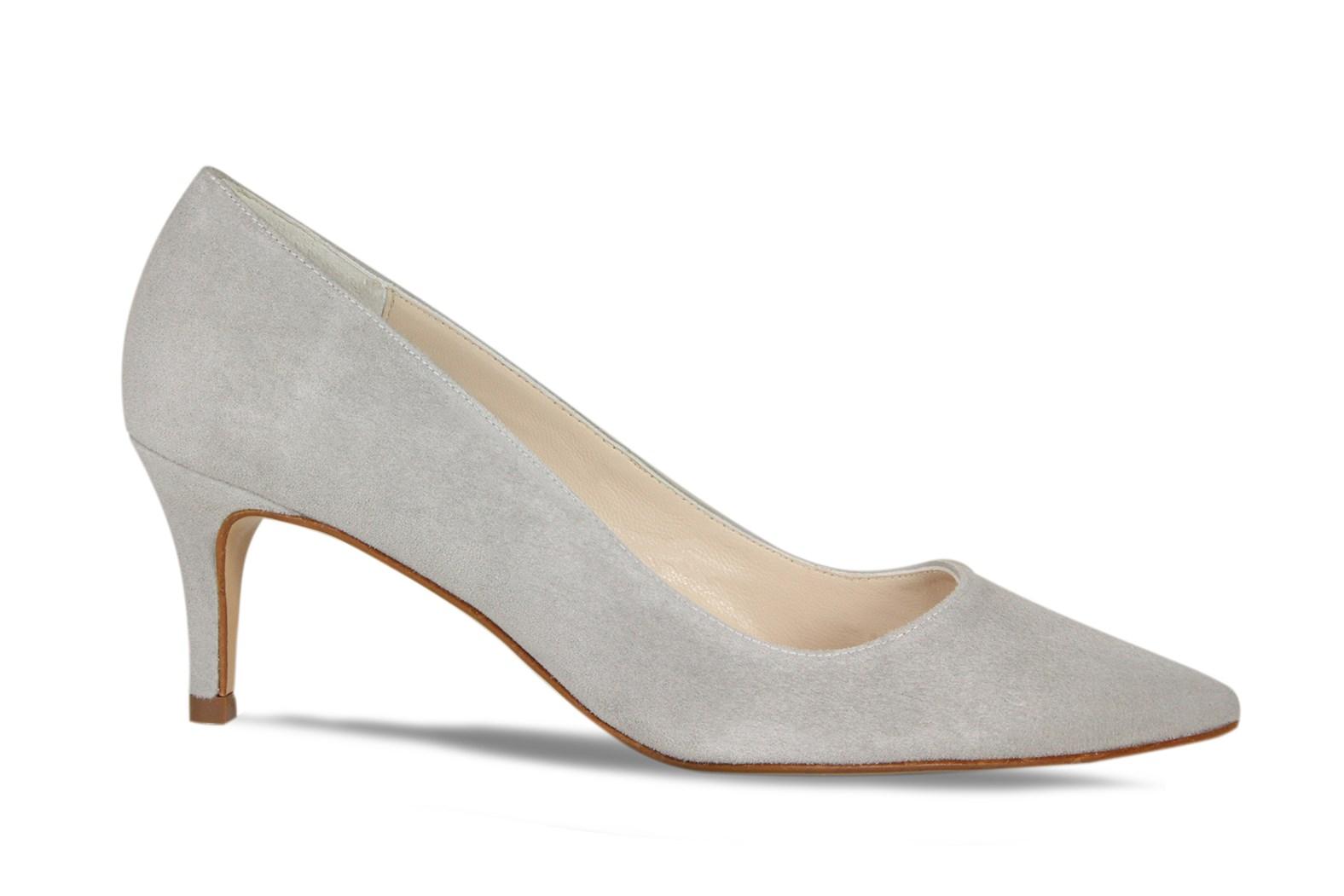 Lisa Kay Jacqui Pale Grey Suede Court Shoe