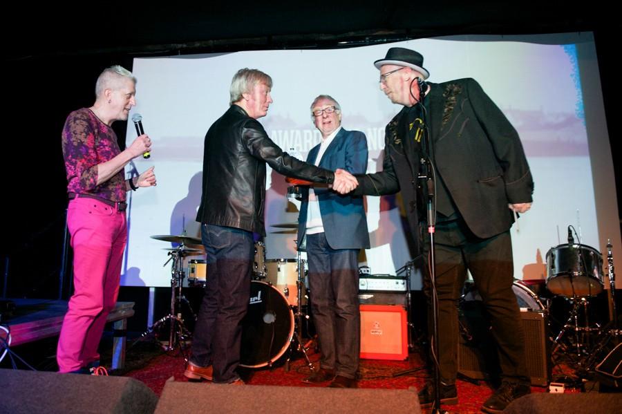 Steve Power receives the GIT Award on behalf of Bill Ryder-Jones