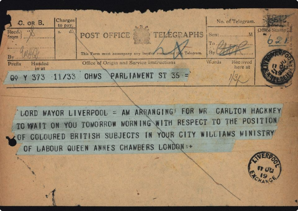 Telegram from central government to the Lord Mayor of Liverpool RE 'Coloured British Subjects' in the city