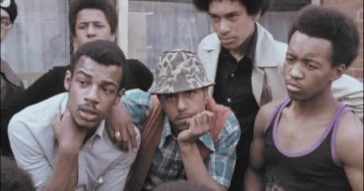 Black youngsters interviewed for television in the aftermath of race disturbances in 1972