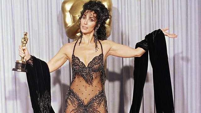 Cher after winning her Oscar for Moonstruck in 1988