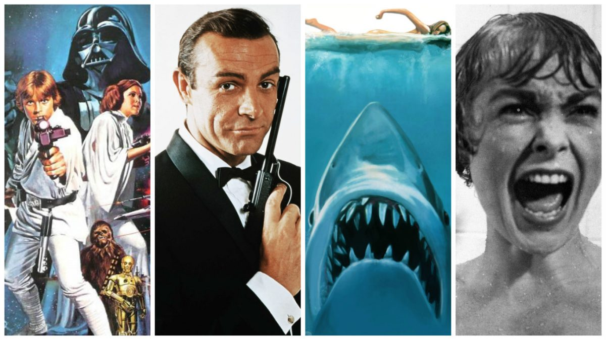 Some of the most memorable movie themes, L-R: Star Wars, James Bond, Jaws, Psycho