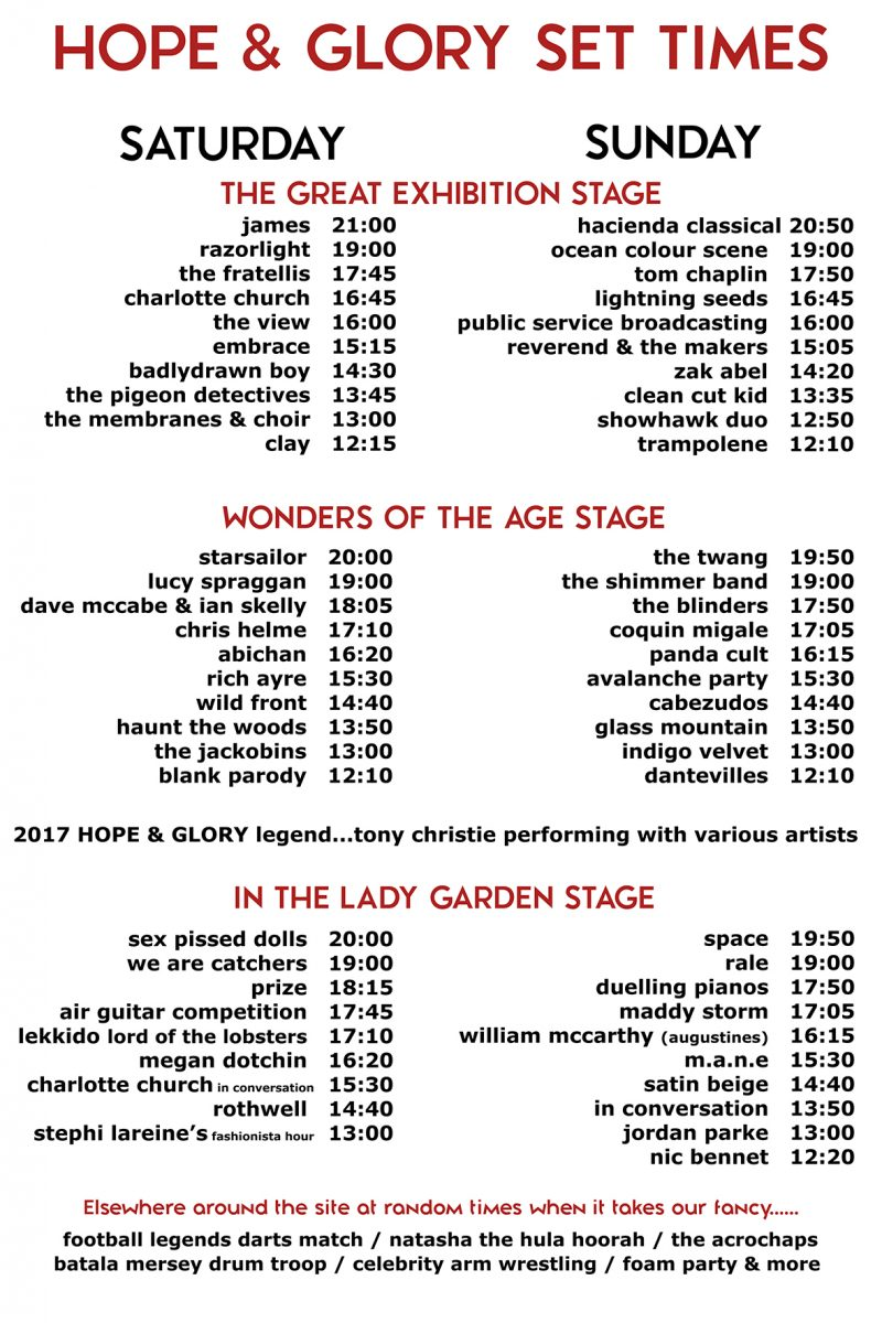 Hope and Glory stage times