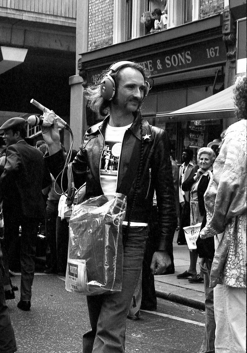 Holger Czukay at Notting Hill Carnival 1978 with his beloved Nakamichi tape recorder. Photo Tony Withers