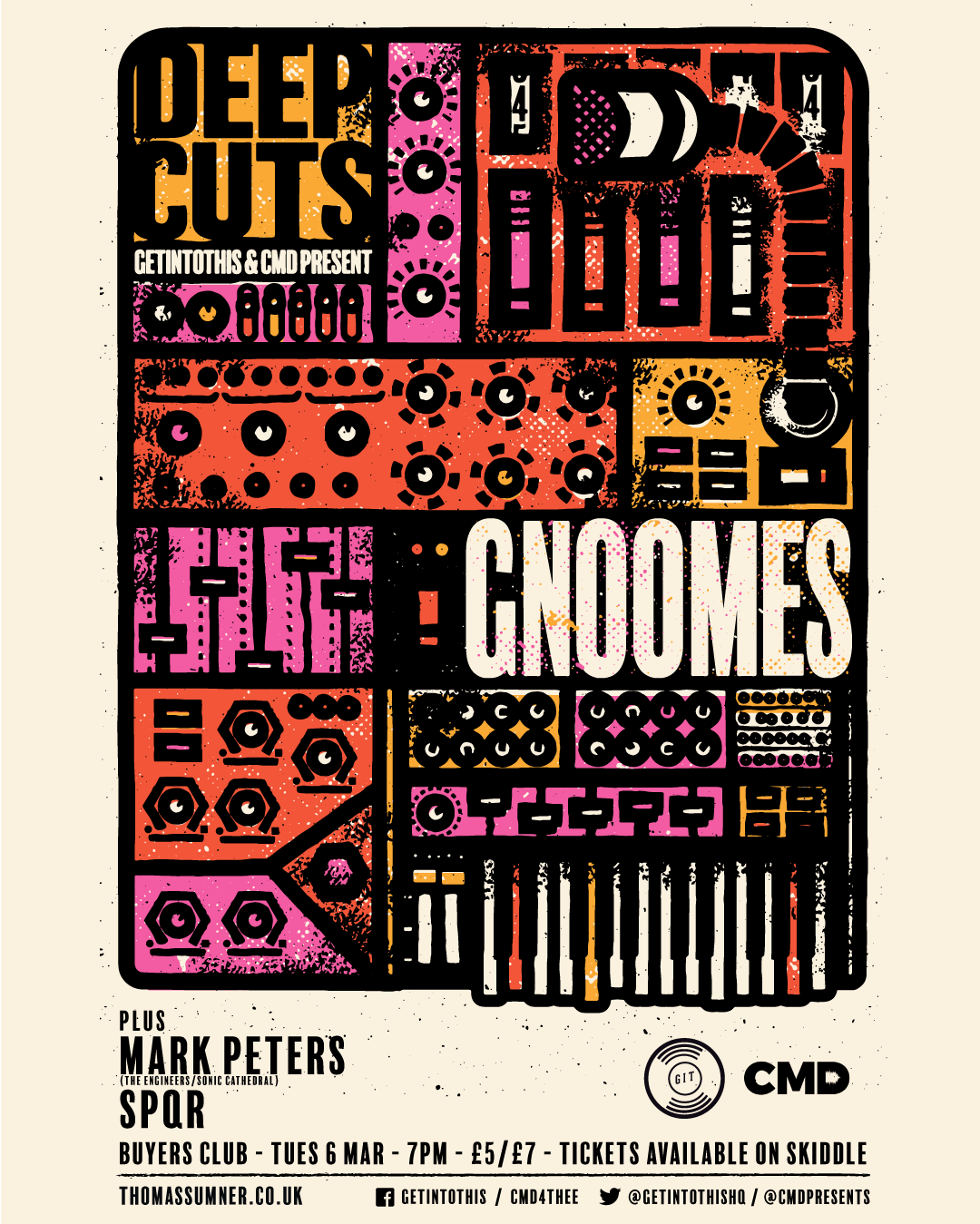 Deep Cuts March 6 featuring Gnoomes, Mark Peters and SPQR