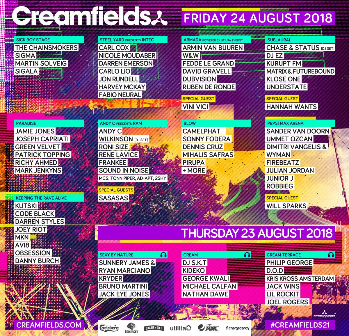 Creamfields Lineup Thurs Fri
