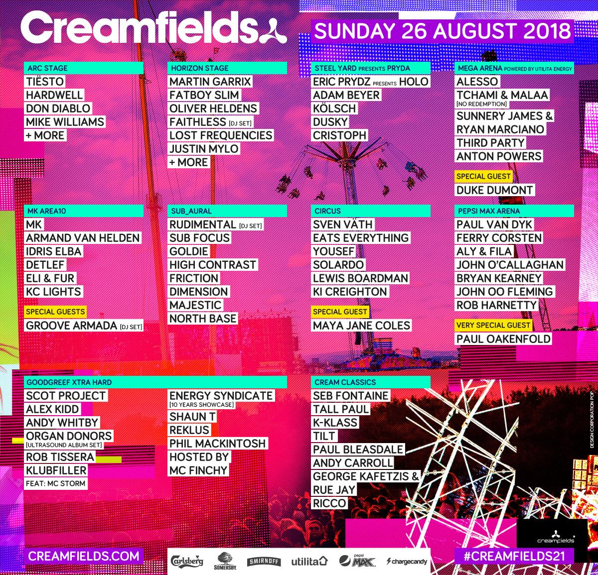 Creamfields Lineup Sunday