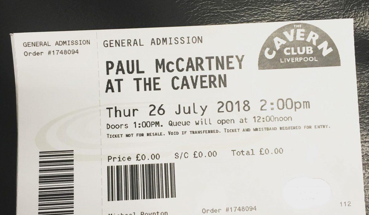 Paul McCartney Cavern ticket