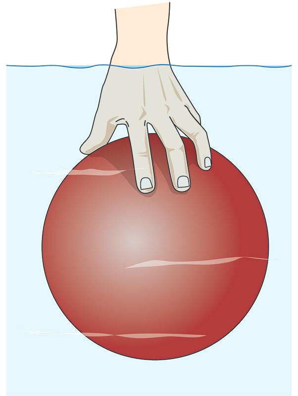 Bild: Illustration. Boll som trycks under vattenytan