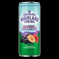 HIGHLAND SPRING BLACKBERRY PLUM & HIBISCUS SPARKLING WATER 330ml (12 PACK)