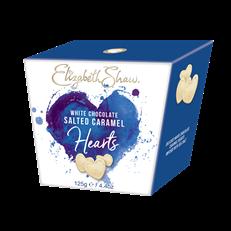 ELIZABETH SHAW WHITE CHOCOLATE SALTED CARAMEL HEARTS 125g