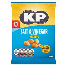 KP SALT & VINEGAR PEANUTS 65g £1 (16 PACK)