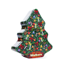 WALKERS PURE BUTTER SHORTBREAD CHRISTMAS TREE TIN 225g 30 OCTOBER DATED