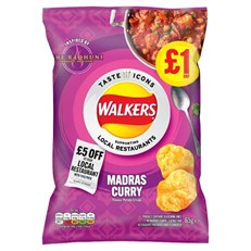 WALKERS CRISPS MADRAS CURRY LIMITED EDITION 65g £1 (15 pack) 27 NOVEMBER DATED