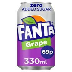 FANTA GRAPE ZERO 330ml 65p CANS (24 PACK)