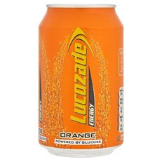 LUCOZADE CANS ORANGE CRUSH