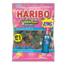 HARIBO £1 BUBBLEGUM BOTTLES ZING 160g (12 PACK)