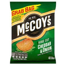 MCCOYS CHEDDAR & ONION RIDGE CUT CRISPS 50g (36 PACK)