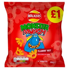 WALKERS MONSTER MUNCH 60g £1 FLAMIN HOT (15 PACK)