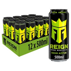 REIGN ENERGY DRINK SOUR APPLE 500ml £1.49 (12 PACK)