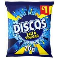 DISCOS SALT & VINEGAR 70g £1 (14 PACK) 23 OCTOBER DATED