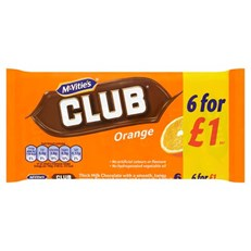 MCVITIES CLUB ORANGE £1 BISCUITS 6PACK