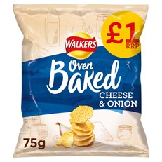WALKERS BAKED CHEESE & ONION £1 75g (15 PACK)