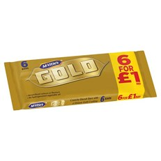 McVities Gold Bars £1 PM 6 Pack