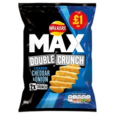 WALKERS £1 MAX DOUBLE CRUNCH CHEDDAR & ONION SEPTEMBER DATED