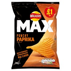 WALKERS £1 MAX PAPRIKA PUNCHY 70g (15 PACK) 2 JANUARY DATED