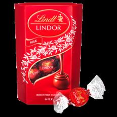 LINDT LINDOR CORNET MILK CHOCOLATE TRUFFLES BOX 200G (8 BOXES)