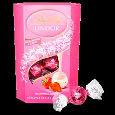 LINDT LINDOR STRAWBERRY & CREAM CHOCOLATE BOX 200g (8 BOXES)