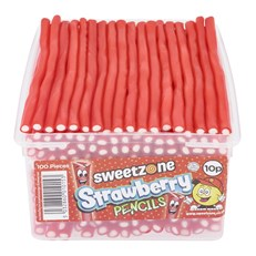 SWEETZONE TUBS PENCILS STRAWBERRY 10p