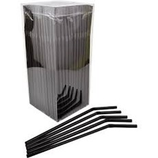 BENDY STRAWS BLACK 200MM