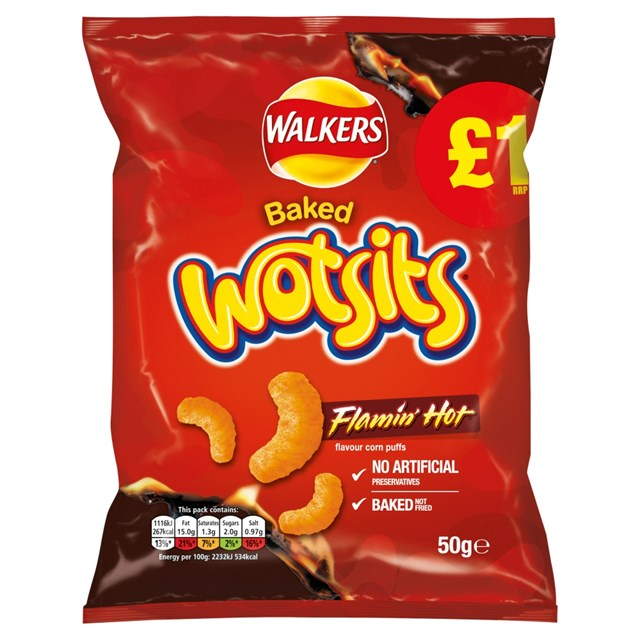 WALKERS £1 WOTSITS FLAMIN HOT 50g (15 PACK)