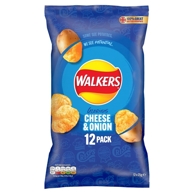 WALKERS CHEESE & ONION 25g (12 PACK)